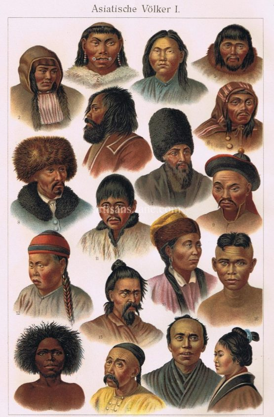 Antique Print of Asiatic Peoples