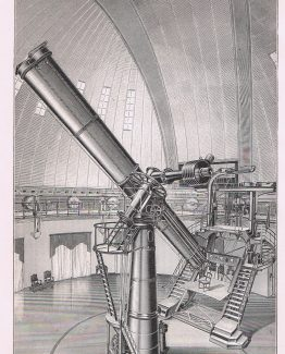 Antique print of The Pulkovo and Potsdam Astronomical Observatory