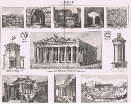 Greek Architecture Antique print showing The Pantheon in Athens, Theatre in Segesta,wall in Mycenae