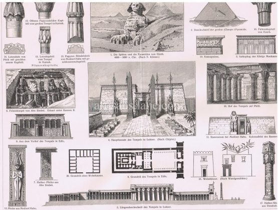 Egyptian Architecture Antique print showing the Sphinx,Pyramids,columns,pillars,sarcophagus