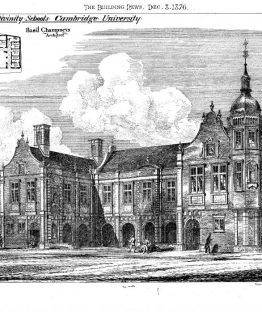 Cambridge University New Divinity School 1876 Architectural print