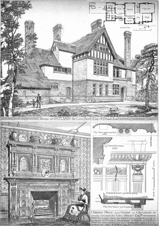 Architectural Antique Print of a House in Oatlands erected for George Short
