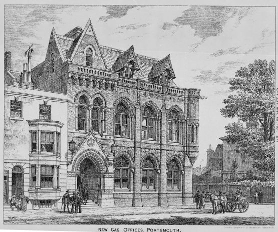 New Gas Offices in Portsmouth Antique 1877 print