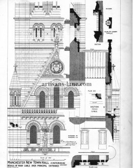 Manchester New Town Hall Antique Architecture Print