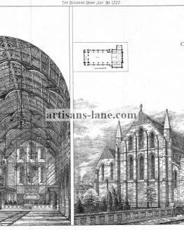 St Lawrence Church Northampton 1877 Architectural Drawing.