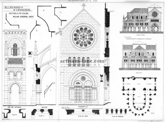 Allahabad Cathedral Details of choir Architectural drawing