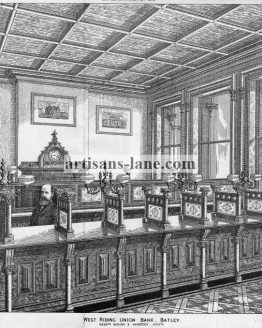 West Riding Union Bank Batley 1878 Antique Print.