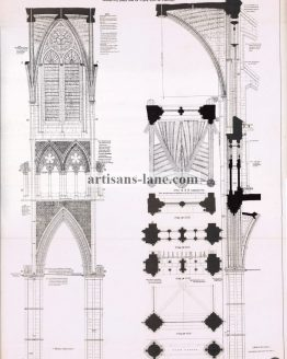 Westminster Abbey 1877 Architectural Drawing