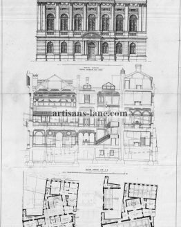 Architectural Design for Kensington Vestry Hall 1878 Antique print.