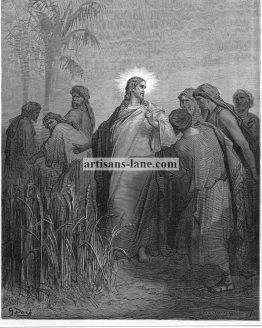 Jesus and disciples in Cornfield Dore Bible print