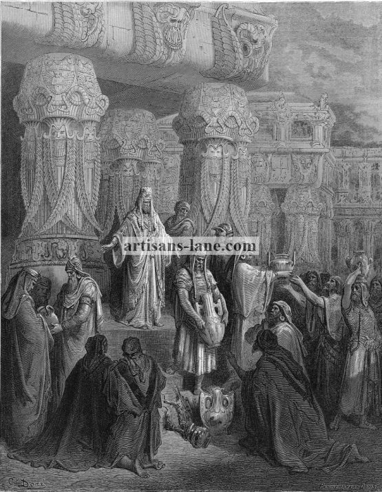 Cyrus restoring the Temple Vessels 1870 Antique Bible Print.