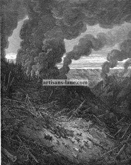 Forest Fire 1870 antique Dore Religious illustration.