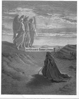 Abraham Three Angels DORE Antique Religious Print.