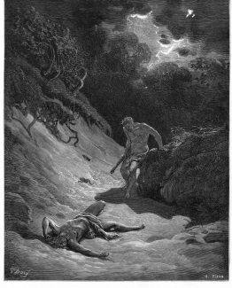 Death of Abel Gustave Dore Bible 1870 antique print.
