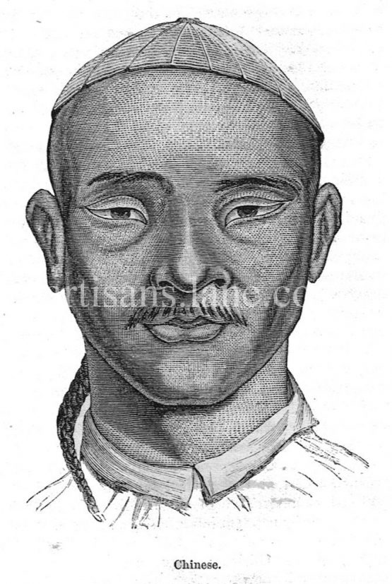 Chinese Man Antique illustration 1860 wood engraving