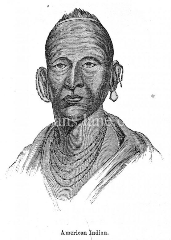 American Indian Antique illustration 1860 wood engraving