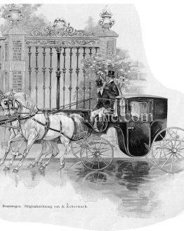 Antique Horse drawn Bridal Trolley German original drawing