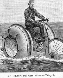 Water Tricycle Antique wood illustration Vintage Amphibious Cycle