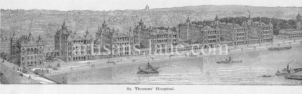St Thomas Hospital surrey side of thames london 1868-71