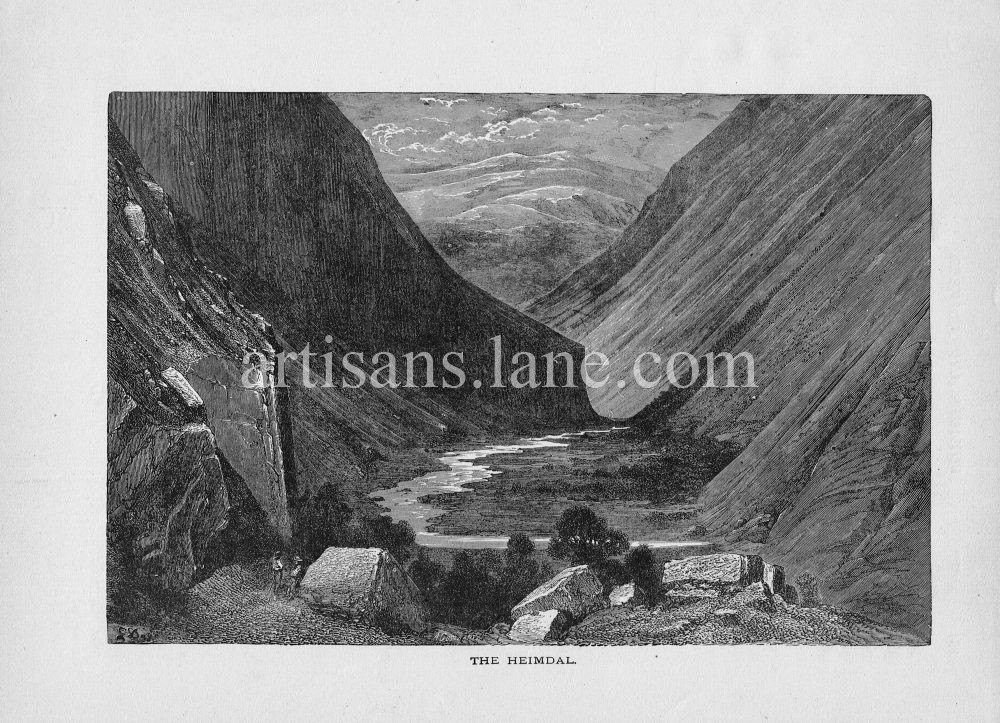 Heimdal Valley in Norway 1878 wood engraved print