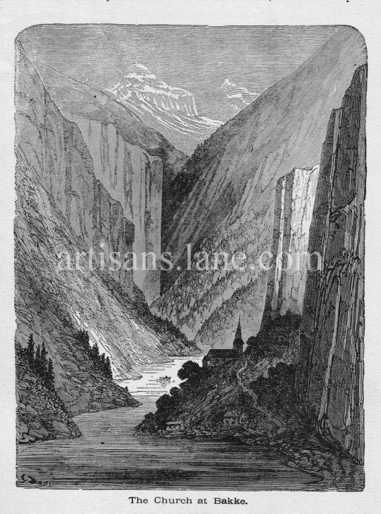 Bakke church in Norway antique 1878 illustrated print