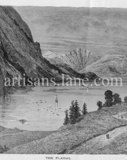 Fladal Valley of the Flaa in Norway antique 1887 print