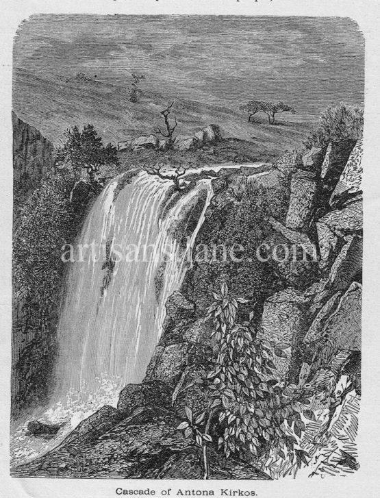 Antona Kirkos waterfall in Ethiopia, Abyssina antique print