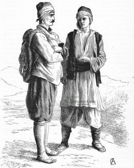 Mainote and Spartan men in costume