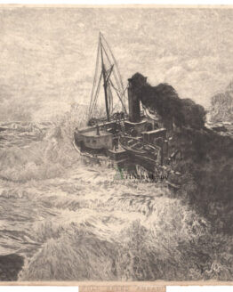 Steamship in heavy seas Bartels Antique print