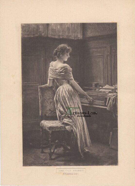The Old Spinet poetzelberger Antique Photogravure