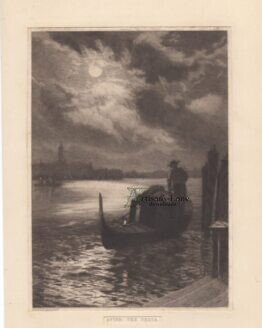 After the Fiesta Gondolier evening full moon antique print