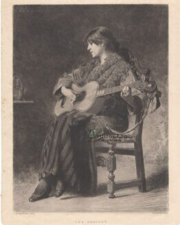 Girl Playing Classical Guitar Antique Print
