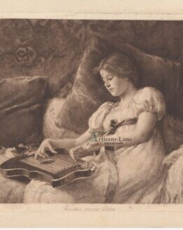 Girl playing an autoharp antique print