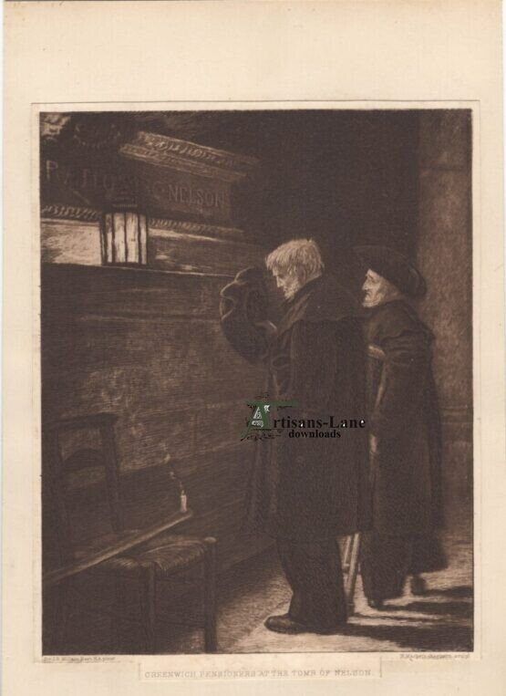 Greenwich pensioners at the Tomb of Nelson antique print