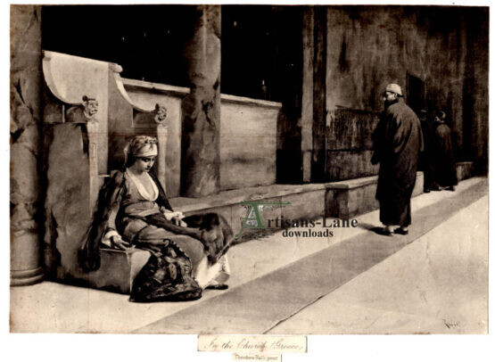 In The Church Greece Repentant Girl Antique Print