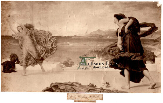 Greek Girls Playing with Ball Antique Photogravure