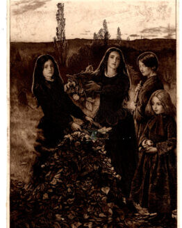 Autumn Leaves Antique photogravure Young Girls burning Leaves