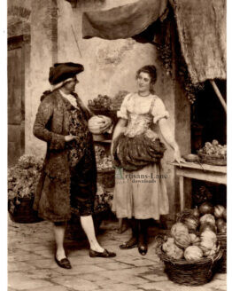Old man with young girl Antique photogravure
